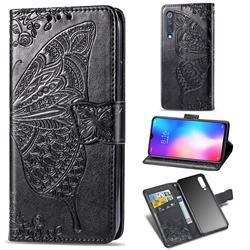 Embossing Mandala Flower Butterfly Leather Wallet Case for Xiaomi Mi 9 SE - Black