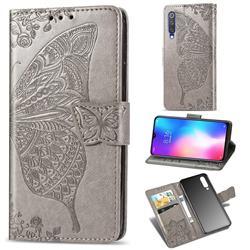 Embossing Mandala Flower Butterfly Leather Wallet Case for Xiaomi Mi 9 SE - Gray