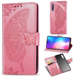 Embossing Mandala Flower Butterfly Leather Wallet Case for Xiaomi Mi 9 SE - Pink