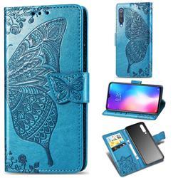 Embossing Mandala Flower Butterfly Leather Wallet Case for Xiaomi Mi 9 SE - Blue