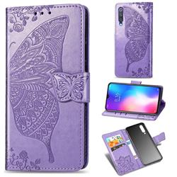 Embossing Mandala Flower Butterfly Leather Wallet Case for Xiaomi Mi 9 SE - Light Purple