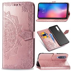 Embossing Imprint Mandala Flower Leather Wallet Case for Xiaomi Mi 9 SE - Rose Gold
