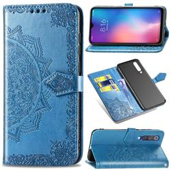 Embossing Imprint Mandala Flower Leather Wallet Case for Xiaomi Mi 9 SE - Blue