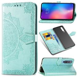Embossing Imprint Mandala Flower Leather Wallet Case for Xiaomi Mi 9 SE - Green