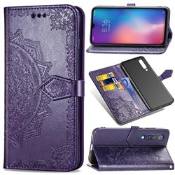Embossing Imprint Mandala Flower Leather Wallet Case for Xiaomi Mi 9 SE - Purple