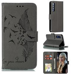 Intricate Embossing Lychee Feather Bird Leather Wallet Case for Xiaomi Mi 9 SE - Gray