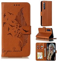 Intricate Embossing Lychee Feather Bird Leather Wallet Case for Xiaomi Mi 9 SE - Brown