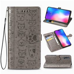 Embossing Dog Paw Kitten and Puppy Leather Wallet Case for Xiaomi Mi 9 SE - Gray