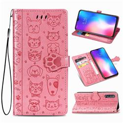 Embossing Dog Paw Kitten and Puppy Leather Wallet Case for Xiaomi Mi 9 SE - Pink