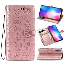 Embossing Dog Paw Kitten and Puppy Leather Wallet Case for Xiaomi Mi 9 SE - Rose Gold