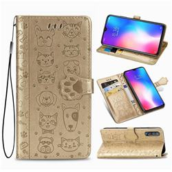 Embossing Dog Paw Kitten and Puppy Leather Wallet Case for Xiaomi Mi 9 SE - Champagne Gold