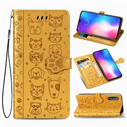 Embossing Dog Paw Kitten and Puppy Leather Wallet Case for Xiaomi Mi 9 SE - Yellow