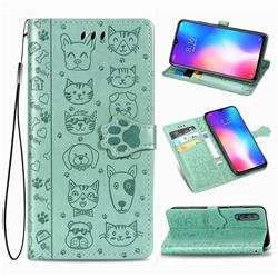 Embossing Dog Paw Kitten and Puppy Leather Wallet Case for Xiaomi Mi 9 SE - Green