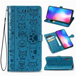 Embossing Dog Paw Kitten and Puppy Leather Wallet Case for Xiaomi Mi 9 SE - Blue
