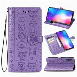 Embossing Dog Paw Kitten and Puppy Leather Wallet Case for Xiaomi Mi 9 SE - Purple