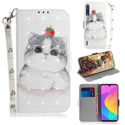 Cute Tomato Cat 3D Painted Leather Wallet Phone Case for Xiaomi Mi A3