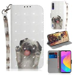 Pug Dog 3D Painted Leather Wallet Phone Case for Xiaomi Mi A3