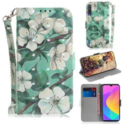 Watercolor Flower 3D Painted Leather Wallet Phone Case for Xiaomi Mi A3