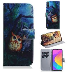 Oil Painting Owl PU Leather Wallet Case for Xiaomi Mi A3