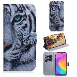 White Tiger PU Leather Wallet Case for Xiaomi Mi A3