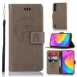 Intricate Embossing Owl Campanula Leather Wallet Case for Xiaomi Mi A3 - Grey