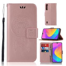 Intricate Embossing Owl Campanula Leather Wallet Case for Xiaomi Mi A3 - Rose Gold