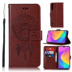 Intricate Embossing Owl Campanula Leather Wallet Case for Xiaomi Mi A3 - Brown