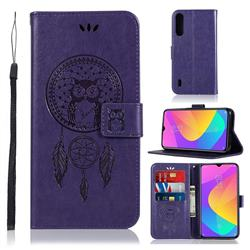 Intricate Embossing Owl Campanula Leather Wallet Case for Xiaomi Mi A3 - Purple