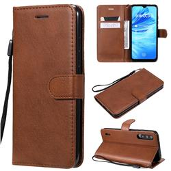 Retro Greek Classic Smooth PU Leather Wallet Phone Case for Xiaomi Mi A3 - Brown