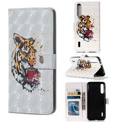 Toothed Tiger 3D Painted Leather Phone Wallet Case for Xiaomi Mi A3