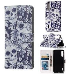 Skull Flower 3D Painted Leather Phone Wallet Case for Xiaomi Mi A3