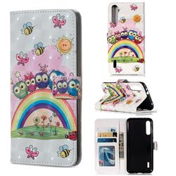 Rainbow Owl Family 3D Painted Leather Phone Wallet Case for Xiaomi Mi A3