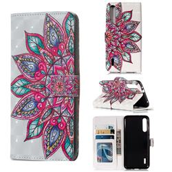 Mandara Flower 3D Painted Leather Phone Wallet Case for Xiaomi Mi A3