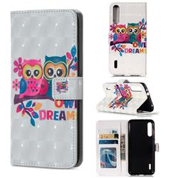 Couple Owl 3D Painted Leather Phone Wallet Case for Xiaomi Mi A3