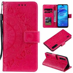 Intricate Embossing Datura Leather Wallet Case for Xiaomi Mi A3 - Rose Red