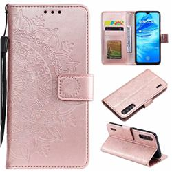 Intricate Embossing Datura Leather Wallet Case for Xiaomi Mi A3 - Rose Gold