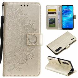 Intricate Embossing Datura Leather Wallet Case for Xiaomi Mi A3 - Golden