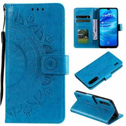 Intricate Embossing Datura Leather Wallet Case for Xiaomi Mi A3 - Blue