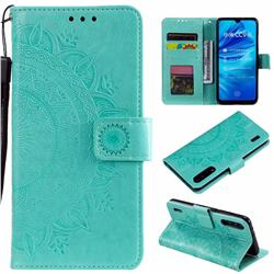 Intricate Embossing Datura Leather Wallet Case for Xiaomi Mi A3 - Mint Green
