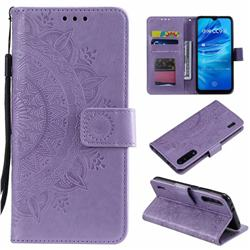 Intricate Embossing Datura Leather Wallet Case for Xiaomi Mi A3 - Purple