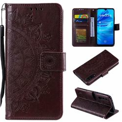 Intricate Embossing Datura Leather Wallet Case for Xiaomi Mi A3 - Brown