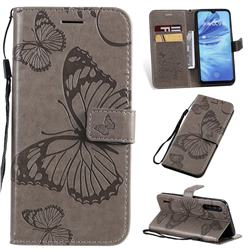 Embossing 3D Butterfly Leather Wallet Case for Xiaomi Mi A3 - Gray
