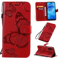 Embossing 3D Butterfly Leather Wallet Case for Xiaomi Mi A3 - Red