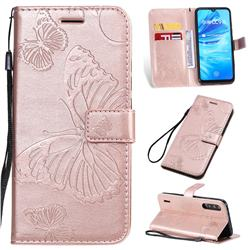 Embossing 3D Butterfly Leather Wallet Case for Xiaomi Mi A3 - Rose Gold