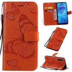 Embossing 3D Butterfly Leather Wallet Case for Xiaomi Mi A3 - Orange