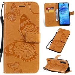 Embossing 3D Butterfly Leather Wallet Case for Xiaomi Mi A3 - Yellow