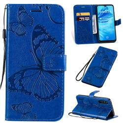 Embossing 3D Butterfly Leather Wallet Case for Xiaomi Mi A3 - Blue