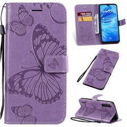 Embossing 3D Butterfly Leather Wallet Case for Xiaomi Mi A3 - Purple