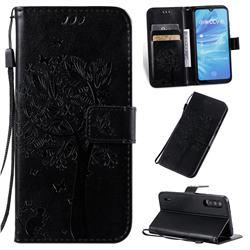 Embossing Butterfly Tree Leather Wallet Case for Xiaomi Mi A3 - Black