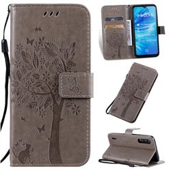 Embossing Butterfly Tree Leather Wallet Case for Xiaomi Mi A3 - Grey